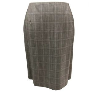 Dana Buchman Wool Plaid Kick Pleated Pencil Skirt